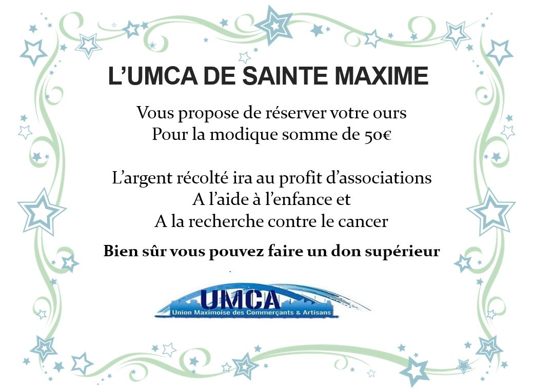 UMCA Sainte Maxime vous propose de Réserver Vos Nounours